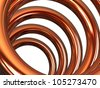 Copper helix on white background - stock photo