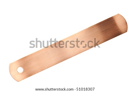 copper identification tags isolated on white background