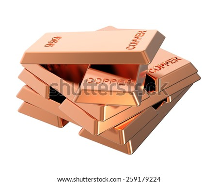Copper ingots isolated on white. Computer generated 3D photo rendering. - stock photo