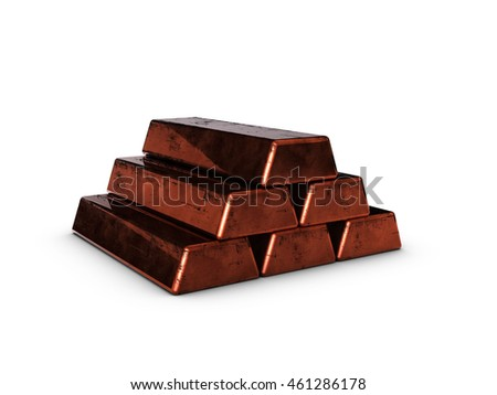Copper ingots on a white background with clipping path 3d rendering