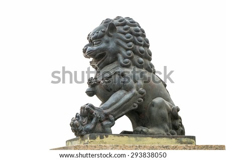 copper lion statue isolated on white with clipping path - stock photo