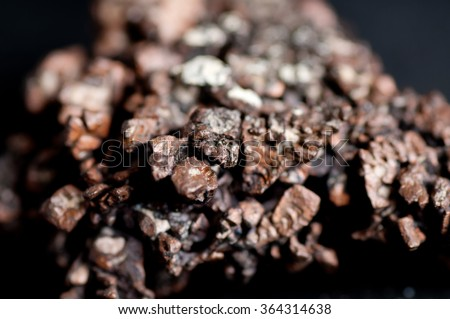 copper ore metal mineral sample used in manufacturing and jewelry - stock photo