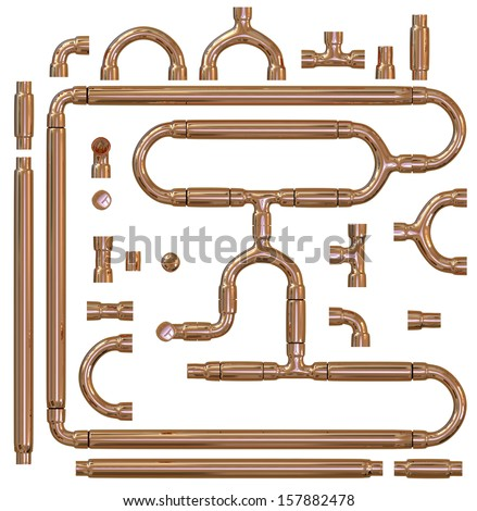 Copper pipe fittings set - stock photo