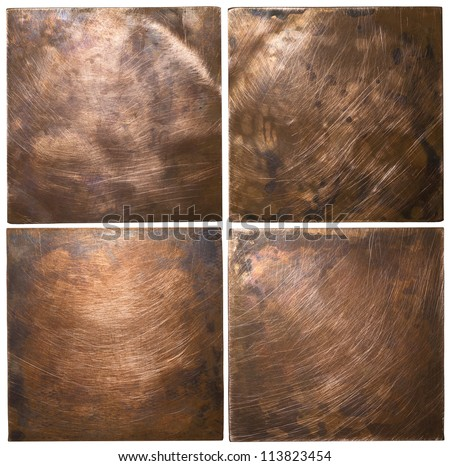Copper plate textures, old metal backgrounds. - stock photo