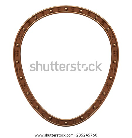 copper plated oval picture frame isolated on white