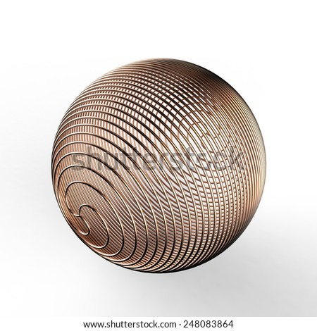 Copper plated wire frame spherical shaped decoration on a white background