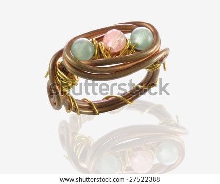 copper ring with pink & green stones