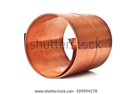 copper sheet rolled into a roll isolated on white background - stock photo