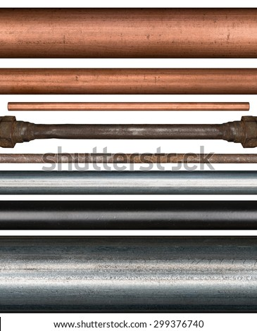 Copper, steel, rusty and painted metal pipes isolated on white background - stock photo