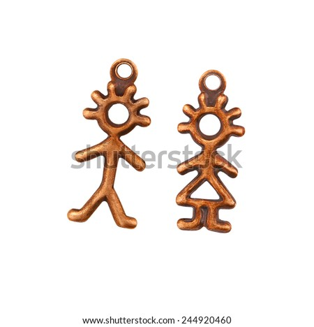 Copper Stick People Charm - Boy & Girl - Couple - stock photo