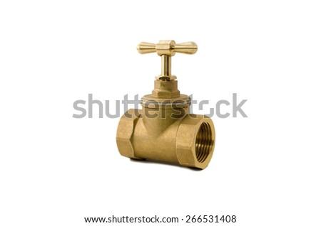 Copper stop valve on white background - stock photo