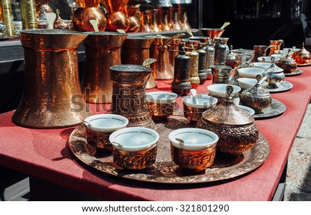 Copper Turkish coffee sets at istanbul market - stock photo
