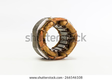 copper wire in machine isolated on white background - stock photo