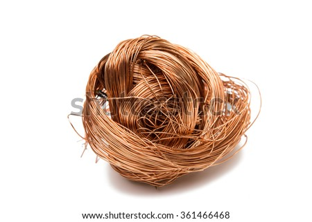 copper wire isolated on white background - stock photo