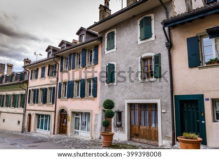 Coppet, Switzerland - March 29, 2016: Coppet is a charming village on the outskirts of Geneva and borders the famous Lake Geneva