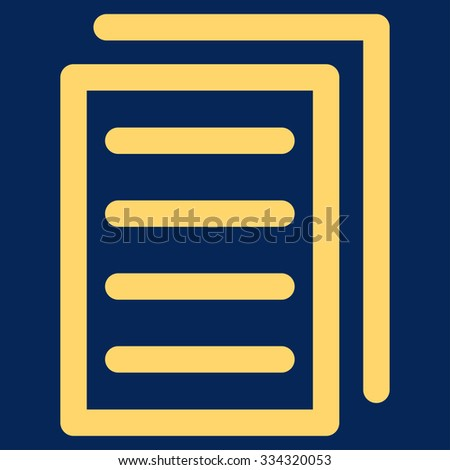 Copy Document glyph icon. Style is flat symbol, yellow color, rounded angles, blue background.