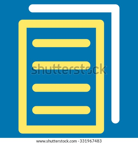 Copy Document illustration icon. Style is bicolor flat symbol, yellow and white colors, rounded angles, blue background.