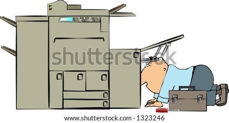 Copy machine repairman - stock photo