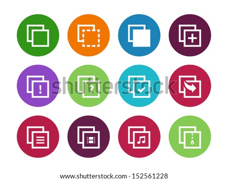 Copy Paste circle icons for Apps, Presentations, Web Pages. See also vector version. - stock photo