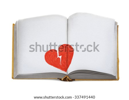 copy space for breakup message in old open book  - stock photo