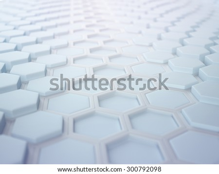 Copy space hexagonal abstract 3d background - stock photo