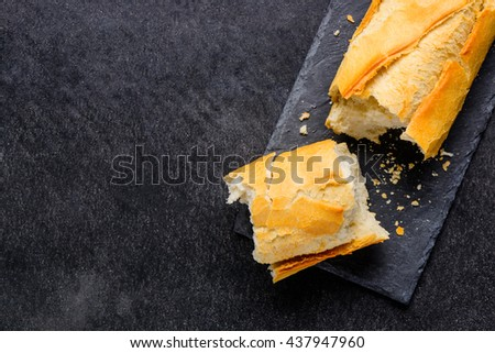 Copy Space Loaf Of brocken crunchy French Bread