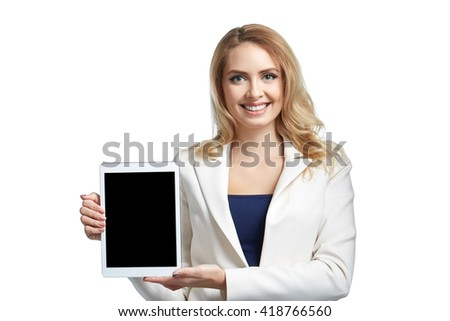 Copy space on her tablet. Beautiful young woman showing tablet and smiling. Business concept  - stock photo