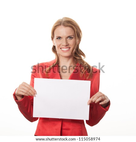 Copy space woman happy holding blank sign - stock photo