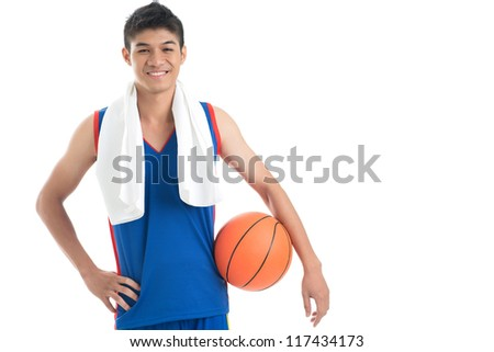 Copy-spaced portrait of a basketball player after a successful game