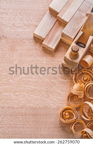 copyapce image wooden shavings old fashioned woodworkers plane planks on board construction concept