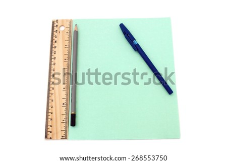 copybook and pen isolated over white - stock photo