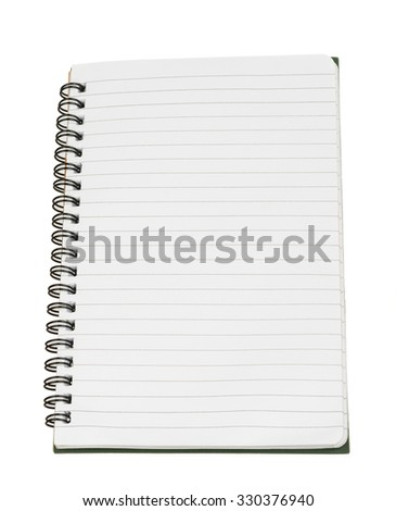 Copybook with blank sheets on isolated white background - stock photo
