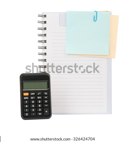 Copybook with stickers and calculator on isolated white background, top view