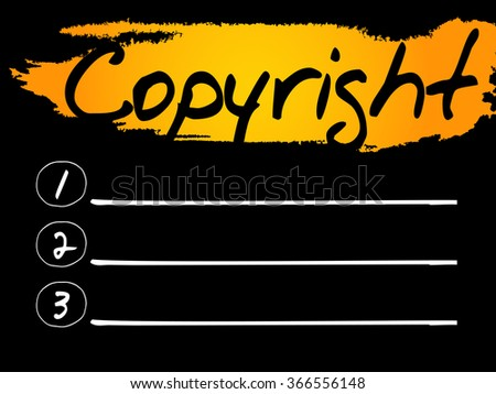Copyright Blank List, concept background - stock photo