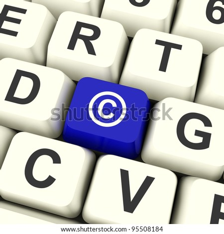 Copyright Blue Computer Key Showing Patent Or Trademarks - stock photo