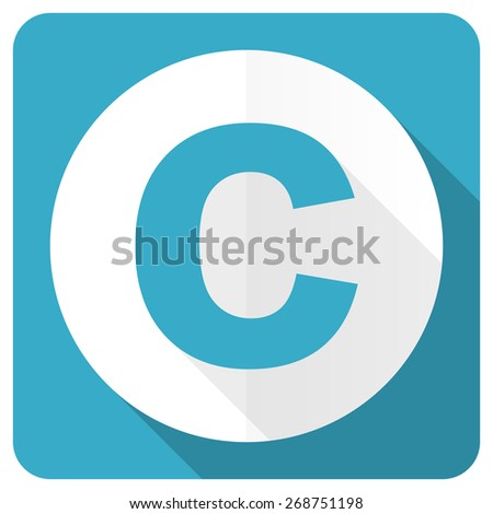 copyright blue flat icon   - stock photo