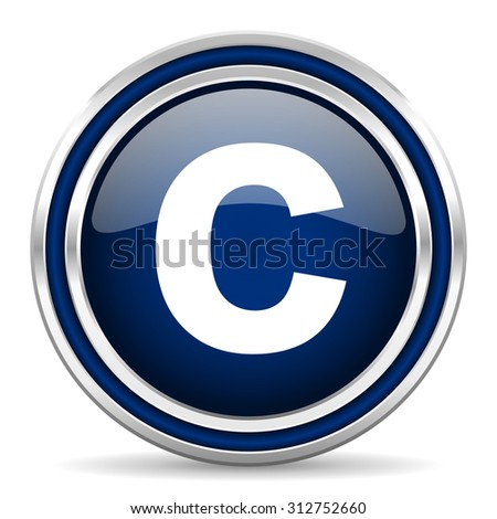 copyright blue glossy web icon modern computer design with double metallic silver border on white background with shadow for web and mobile app round internet button for business usage   - stock photo