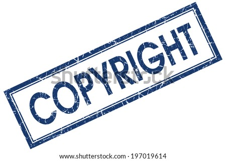 Copyright blue square grungy stamp isolated on white background - stock photo