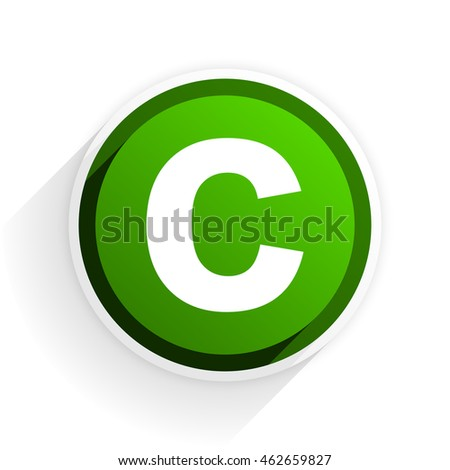 copyright flat icon with shadow on white background, green modern design web element