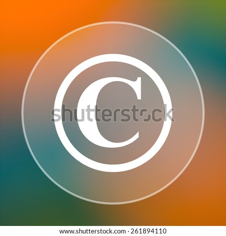 Copyright icon. Internet button on colored  background.  - stock photo