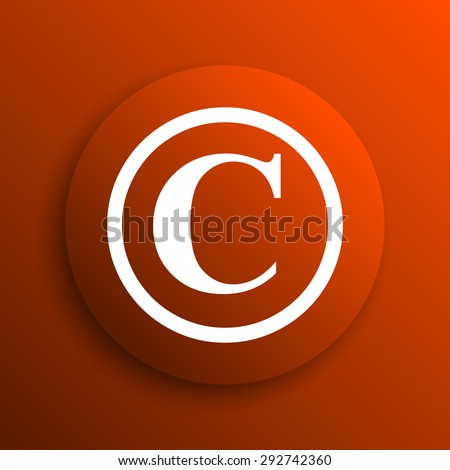 Copyright icon. Internet button on orange background  - stock photo