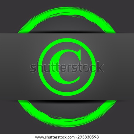 Copyright icon. Internet button with green on grey background.  - stock photo