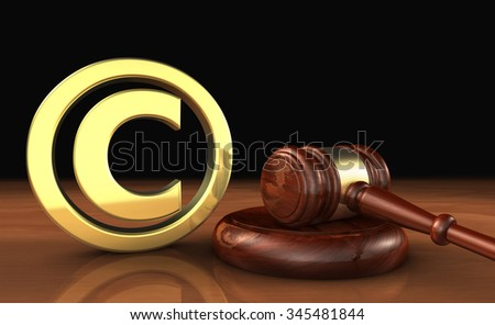 Copyright intellectual property and digital copyright laws conceptual illustration with symbol and icon and a gavel on black background. - stock photo