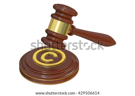 Copyright laws and intellectual property concept, 3D rendering  - stock photo