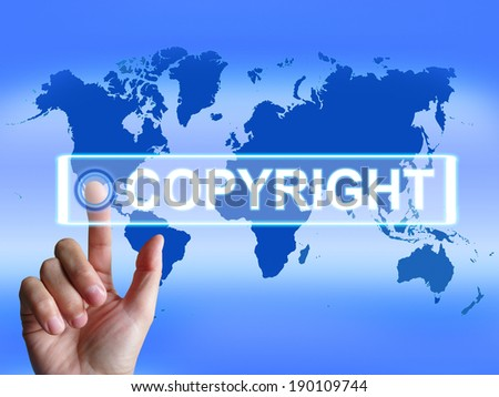 Copyright Map Meaning International Patented Intellectual Property - stock photo