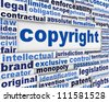 Copyright message concept. legal agreement poster background - stock