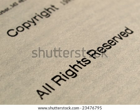 Copyright notice, All rights reserved on a book frontispiece