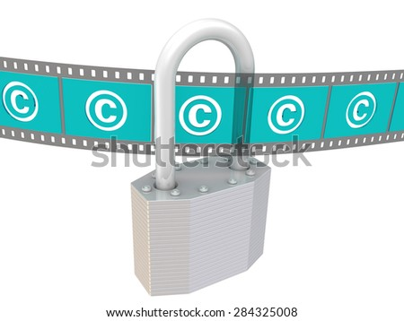 Copyright protection. Concept. Padlock with the symbol of copyright protection and photographic film. Isolated - stock photo