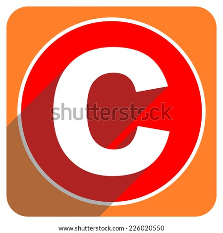 copyright red flat icon isolated  - stock photo