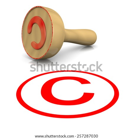 Copyright Red Ink Text Wooden Stamp on White Background 3D Illustration - stock photo